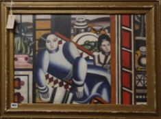 After Fernand Leger, oil on board, Figures and still life, 45 x 65cm