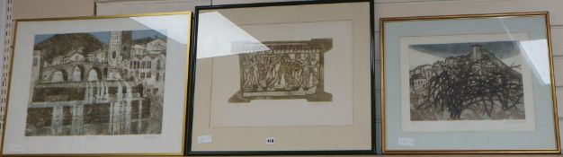 Valerie Thornton, three limited edition prints, Fermigiano, Etruscan relief and Esco