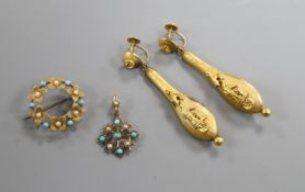 A pair of Victorian 9ct drop earrings, a 15c gem set brooch and a yellow metal and gem set pendant.A