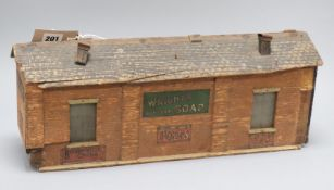 An early 20th century Bassett Lowke 'O' gauge wood engine shed 'Wight's Coal Tar'