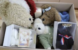 Boyds Santa, three others and two Merrythought limited edition bears