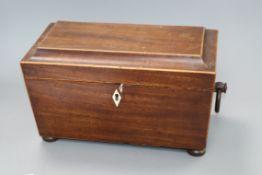 A William IV mahogany tea caddy