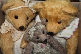 A Marjan Jorritsma handmade Stella bear, a Nellie Bruin bear and a Ruby Bruin bear