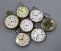 Four base metal military pocket watches including Helvetia and three others.