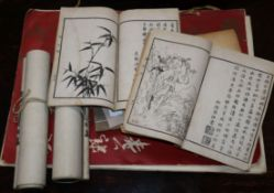 Six Chinese woodblock printed books, two printed calligraphic scrolls and a book on Chinese art