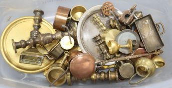A quantity of miniature brass and copper apprentice pieces