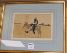 H. Slater, watercolour, North Indian tribesman riding a mule, signed 17 x 26cm