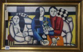 After Fernand Leger, oil on canvas board, Study of three women, bears initials, 28 x 49cm