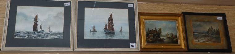 Alan Whitehead, sailing boats, watercolour, a pair, Hume Nisbet, 'Coastal Ruin', watercolour and a