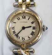 A lady's steel and gold Cartier Panthere Vendome quartz wrist watch, on Cartier steel and gold