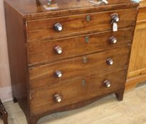 A George III mahogany chest of four drawers W.92cm