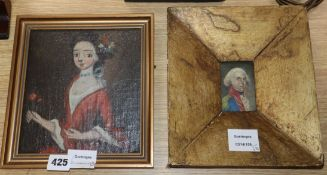 18th century English School - oil on canvas, Naive portrait of a lady, 18 x 17cm and a sketch of