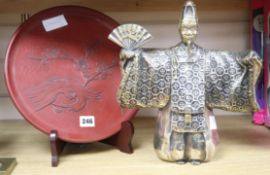 A bronze of a Japanese figure and a red lacquer dish on stand Bronze figure H.30cm