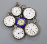 Six assorted silver or white metal fob watches.