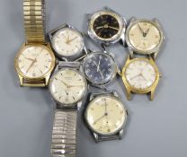 Eight assorted gentleman's wrist watches including Oris and Tissot.