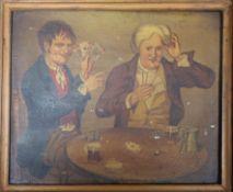 19th century English School - oil on panel, The Winning Hand 17 x 21cm