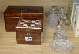 A George III yew tea caddy and a hardstone mounted box
