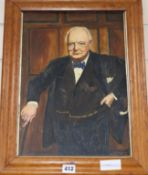 R. Ainsworth, oil on canvas, Portrait of Winston Churchill, signed and dated 1948 40 x 28cm