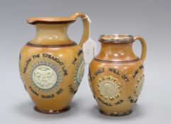 Two Doulton Lambeth motto jugs, c.1890, both with mask and portrait medallions, the largest with
