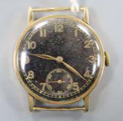 A gentleman's 585 International Watch Co. black dial manual wind mid-size wrist watch, with Arabic