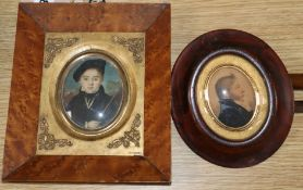 19th century English School, Two miniatures, portraits of a youth and a gentleman largest 8 x 6.5cm