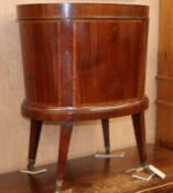 An Edwardian mahogany and satinwood banded oval wine cooler H.65cm