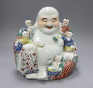 A large Chinese famille rose figure of Budai H.28cm