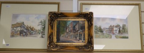 Richard Temple (20th century), The Pantiles, Tunbridge Wells, oil on canvas and two watercolours