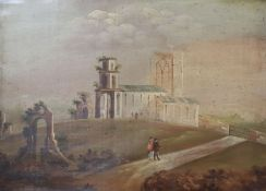 Early 19th century English School, oil on board, Figures passing a ruined church 27 x 38cm