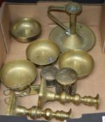 A set of Chinese brass bows, candlesticks etc.