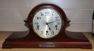 A mid 20th century Westminster Chimes mantel clock W.45.5cm