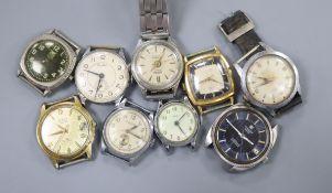 Nine assorted gentleman's wrist watches including Ingersoll and Bentima.