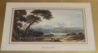 John Varley (1778-1842) watercolour, Landscape with lake and mountains, signed 13 x 23.5cm unframed