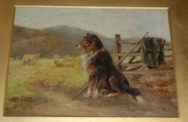 Attributed to Ernest Walbourne, oil on board, Collie in a landscape, signed 19 x 25cm unframed