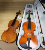 A 3/4 German violin and a Chinese violin with case and bow L.56cm