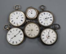 Five assorted silver or white metal fob watches and a silver wrist watch.