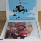 Three modern British prints, one stamped Hirst to the back 30 x 31cm