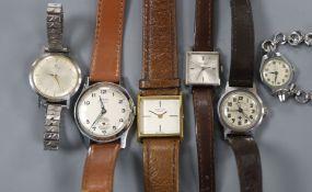 Six assorted mainly lady's wrist watches including Tudor, Benson and Favre Leuba.