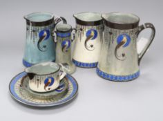 A group of Royal Doulton Titanian wares, decorated in the Bird of Paradise pattern D4222, (7)