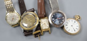 Four assorted gentleman's wrist watches including Tissot and Waltham and a gold plated pocket