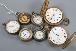 A collection of mixed fob and pocket watches.