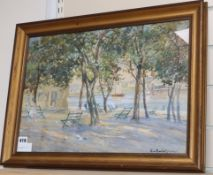 A. G. Ericson - watercolour, Figures in a park beside lake, signed 34 x 49cm