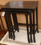 A nest of Chinese lacquer tables W.57cm