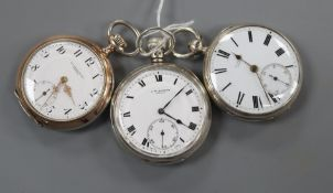 Two J.W. Benson silver pocket watches including late Victorian and an 800 standard Ad. Stockel