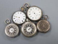 Five assorted silver or white metal pocket watches including half hunter.