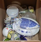 Miscellaneous ceramics and glassware, including a blue and white 'duck' tureen, a Chinese crackle-