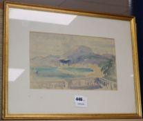 Alfred Hayward, watercolour, Coastal landscape, signed in pencil 18 x 30cm