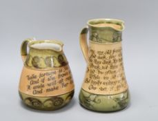 Two Doulton Art Nouveau motto jugs, c.1910, the tallest inscribed 'Come on my old friend and take