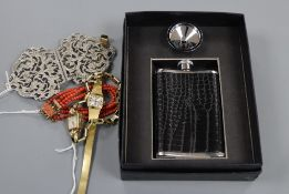 A 14k gold-cased Avia ladies' wristwatch, an Everite wristwatch, a coral bracelet and two other