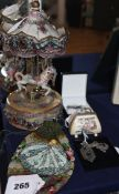 A reproduction musical carousel and miscellaneous items including beaded purses, silver jewellery,
